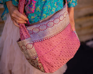 Bag Pink Silk Boho - Beths Emporium