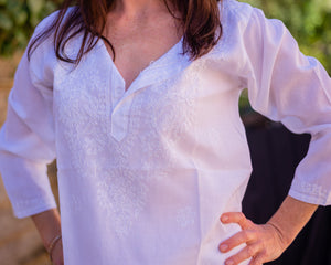 White Embroidered Top/Shirt - Beths Emporium