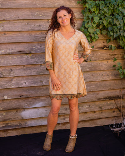 Metallic Gold  Silk Boho Shirt/Dress - Beths Emporium