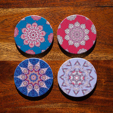Load image into Gallery viewer, Set of Coasters - Indian Mandalas - Round - Beths Emporium
