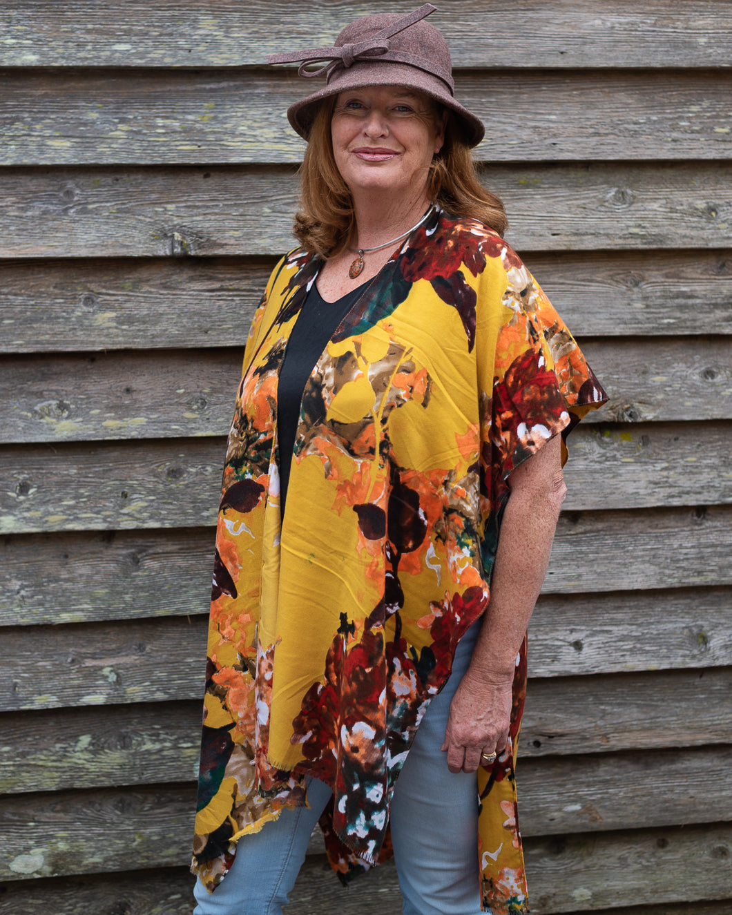 Brushed Cotton Kimino - Autumn Fire Florals - Beths Emporium