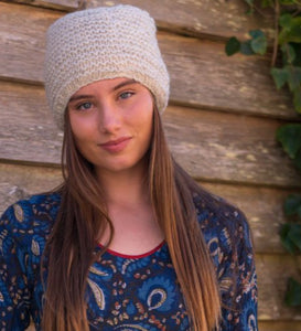 Hand Knitted Wool Beanie - Natural - Beths Emporium