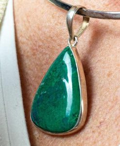 Unique Hand Crafted Green Chrysocolla & Sterling Silver Pendant - Beths Emporium