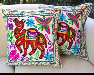 Creative Colours of India  - Embroidered Cushion - Jaipur Journey - Beths Emporium
