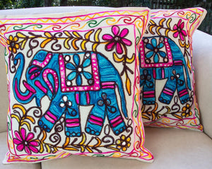 Creative Colours of India  - Embroidered Cushion - Rajasthan Roaming - Beths Emporium