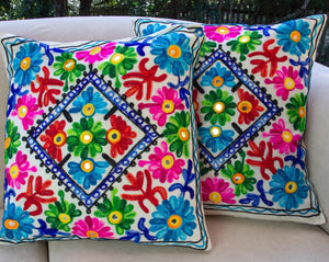 Creative Colours of India  - Embroidered Cushion - Bombay Beauty - Beths Emporium