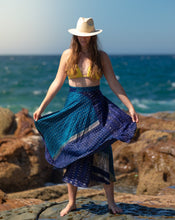 Load image into Gallery viewer, Sleek Sari Silk Wrap Skirt - Sea & Sky - Avoca Collection
