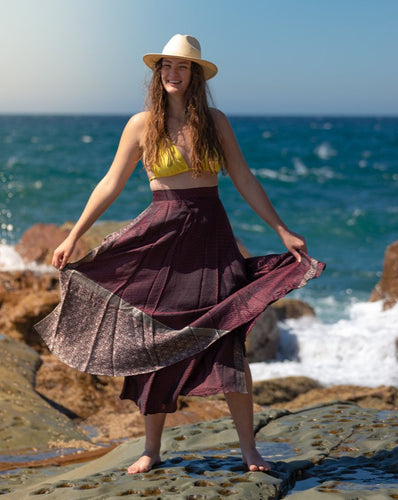 Sleek Sari Silk Wrap Skirt - Mystic Musk - Avoca Collection