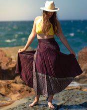 Load image into Gallery viewer, Sleek Sari Silk Wrap Skirt - Evening Frolics - Avoca Collection