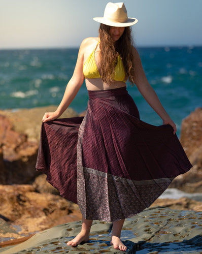 Sleek Sari Silk Wrap Skirt - Evening Frolics - Avoca Collection