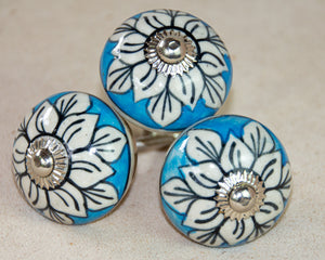 Hand Painted Antique Ceramic Door Drawer Knob - Peaceful River - Beths Emporium