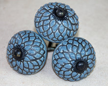 Load image into Gallery viewer, Hand Painted Antique Ceramic Door Drawer Knob - Sky Blue Dahlia - Beths Emporium