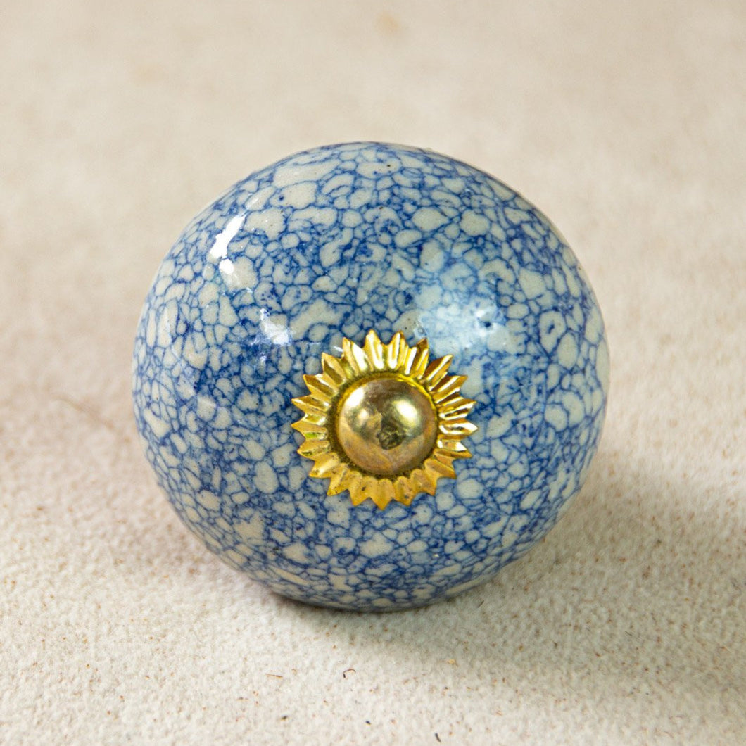 Hand Painted Antique Ceramic Door Drawer Knob - French Blue Crackle - Beths Emporium