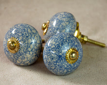 Load image into Gallery viewer, Hand Painted Antique Ceramic Door Drawer Knob - French Blue Crackle - Beths Emporium