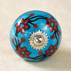 Hand Painted Antique Ceramic Door Drawer Knob - Flowers in the Sky - Beths Emporium