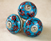 Load image into Gallery viewer, Hand Painted Antique Ceramic Door Drawer Knob - Flowers in the Sky - Beths Emporium