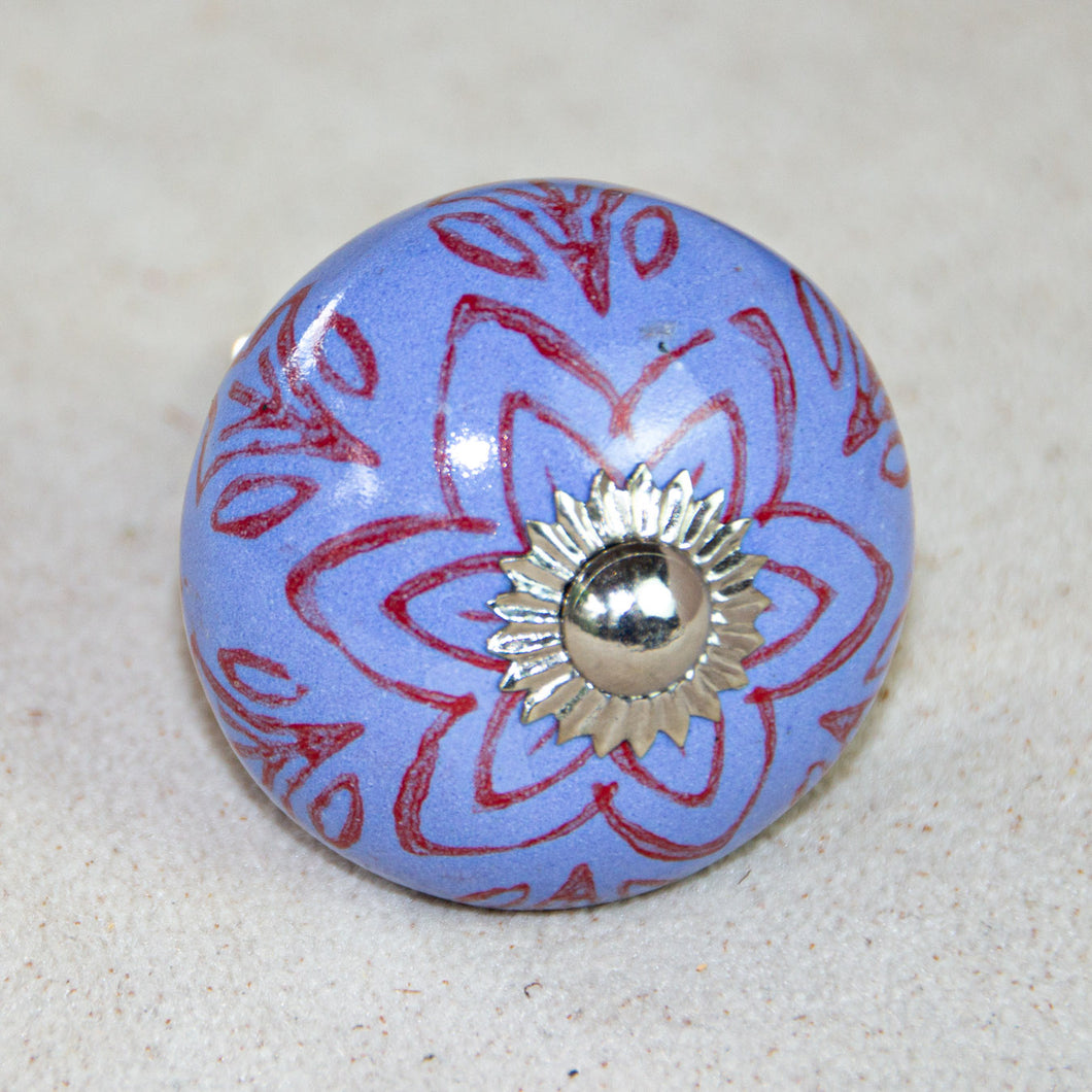 Antique Hand Painted Ceramic Door Drawer Knob - Lavender Blue - Beths Emporium