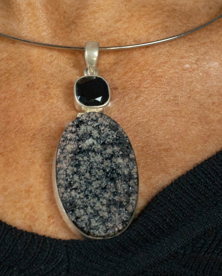 Unique Hand Crafted Multi Coloured Druzy Stirling Silver Pendant - Beths Emporium