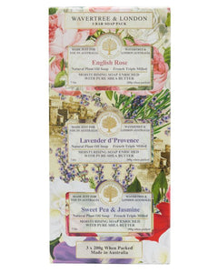 English Rose, Lavender d'Provence and Sweet Pea & Jasmine Trio Soap Gift Set - Beths Emporium