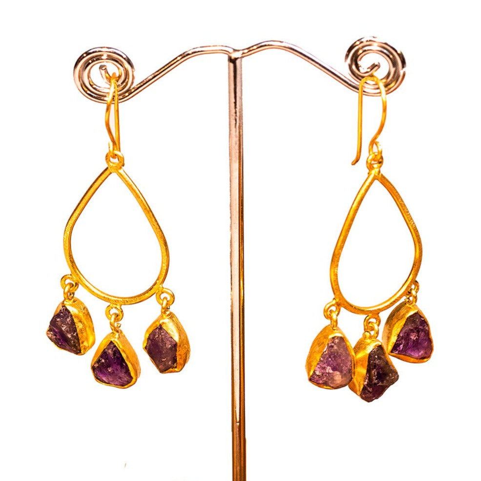 Hand Crafted Amethyst Earrings - One Off Handmade - Beths Emporium