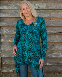 Green & Blue Flower Top - Beths Emporium