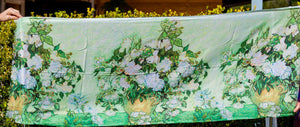 Cotton Impressionist Art Scarf - van Gogh : Vase with Pink Roses