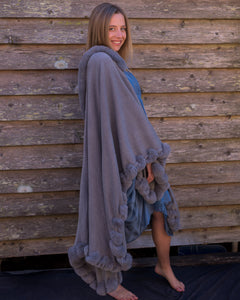 Faux Fur Trim Cape - Smoke Grey - Beths Emporium