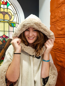Faux Fur Trim Cape - Soft Cream - Beths Emporium