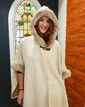 Load image into Gallery viewer, Faux Fur Trim Cape - Soft Cream - Beths Emporium