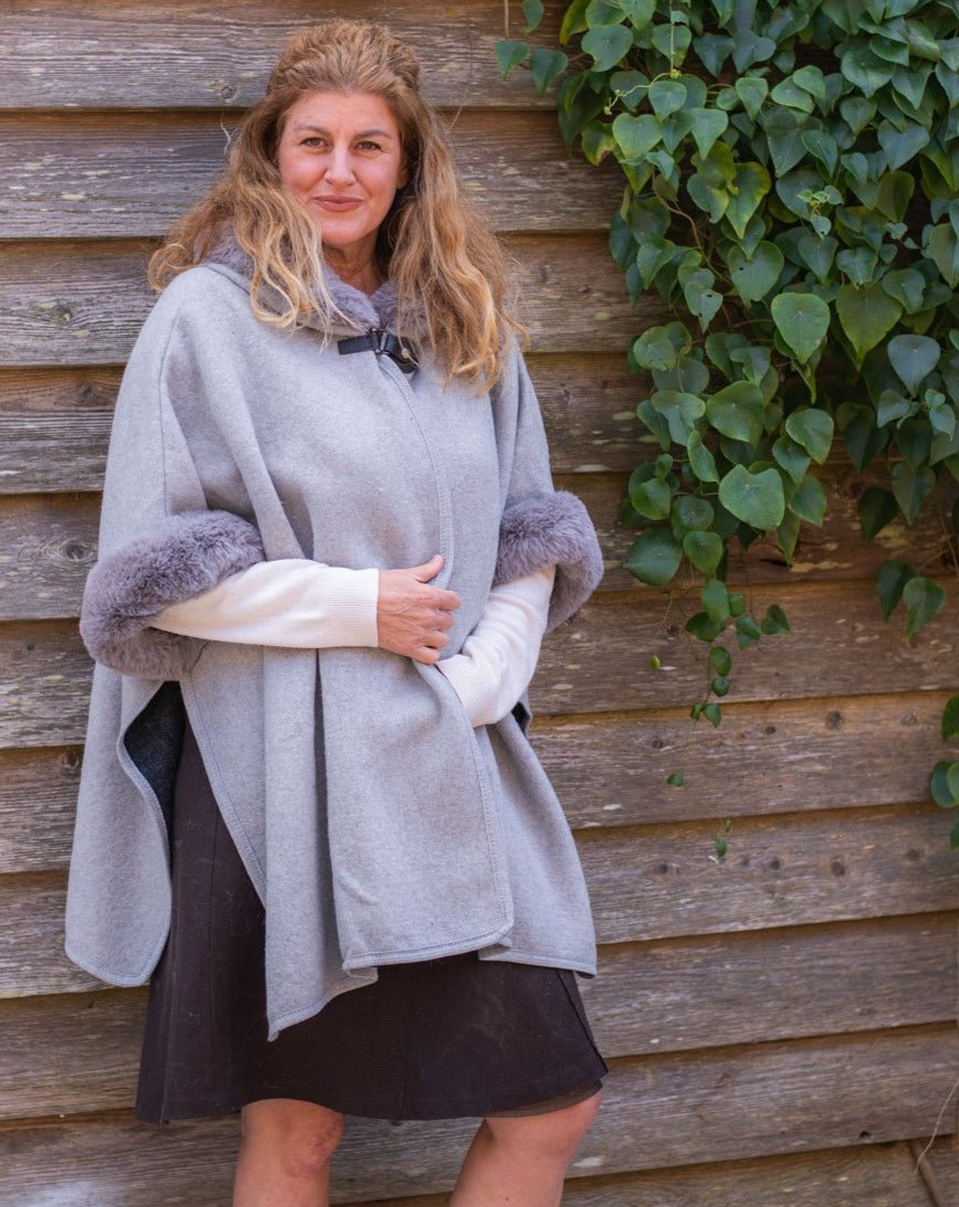 Faux Fur Trim Cape - Light Grey - Beths Emporium