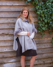 Load image into Gallery viewer, Faux Fur Trim Cape - Light Grey - Beths Emporium