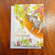 Load image into Gallery viewer, Australiana Christmas Cards - Koala in Flowering Gum Native Plant- Pack of 5