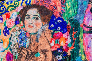 Impressionist Art Scarf - Klimt: Portrait of Maria Monk. Wool/Cotton