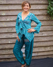 Load image into Gallery viewer, Blue Silky Tie Boho Top - Beths Emporium