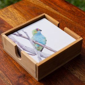 Set of Coasters - Purple Crowned Lorikeet - Australian Native - Beths Emporium