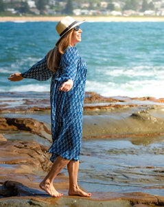 Summer Indigo Boho Flowing Dress - Hand Block Printed - 100% Cotton