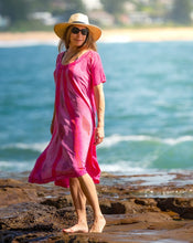 Load image into Gallery viewer, Summer Beaded Boho Pink Dress - Hand Block Printed - 100% Cotton