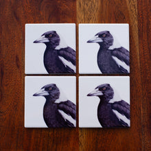 Load image into Gallery viewer, Set of Coasters - Magpie - Australian Native - Beths Emporium
