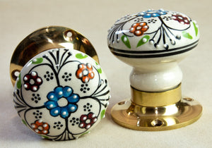 Handpainted Vintage Antique Ceramic Door Handles - Celtic Country - Beths Emporium