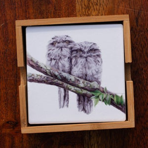 Set of Coasters - Tawney Frogmouth Couple - Australian Native - Beths Emporium