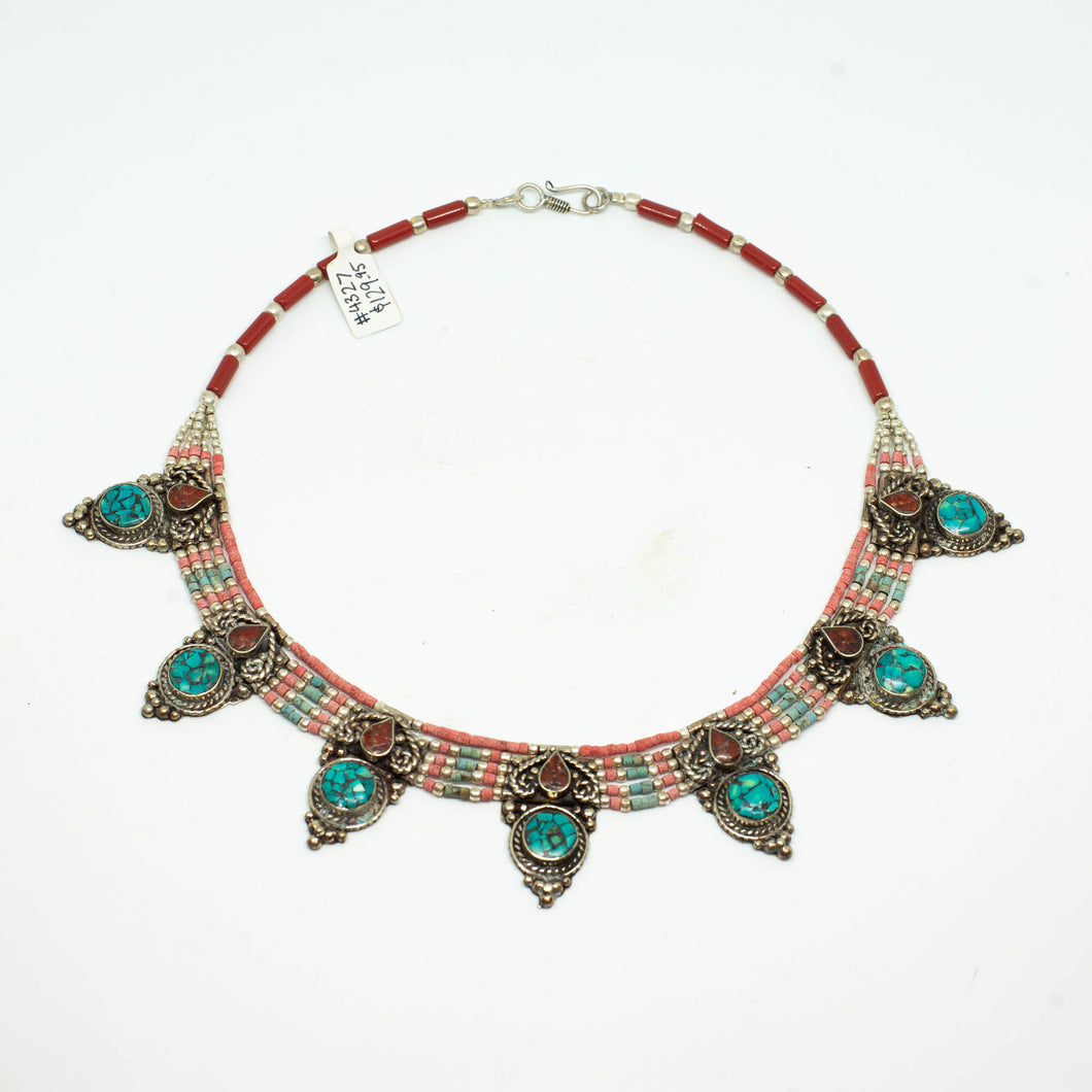 Hand crafted Tibetan Necklace - Turquoise Points - Beths Emporium