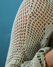 Load image into Gallery viewer, Soft Sage Crocheted Longline Jacket - Beths Emporium