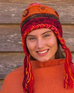 Hand Knitted Wool Boho Beanie with Ear Warmers - Beths Emporium