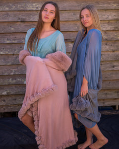 Faux Fur Trim Cape - Dusky Pink & Grey - Beths Emporium