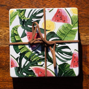 Set of Coasters - Picnic Time - Watermelon & Monstereo - Beths Emporium