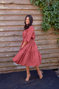 Silky Peasant Dress - Rosewood - Beths Emporium