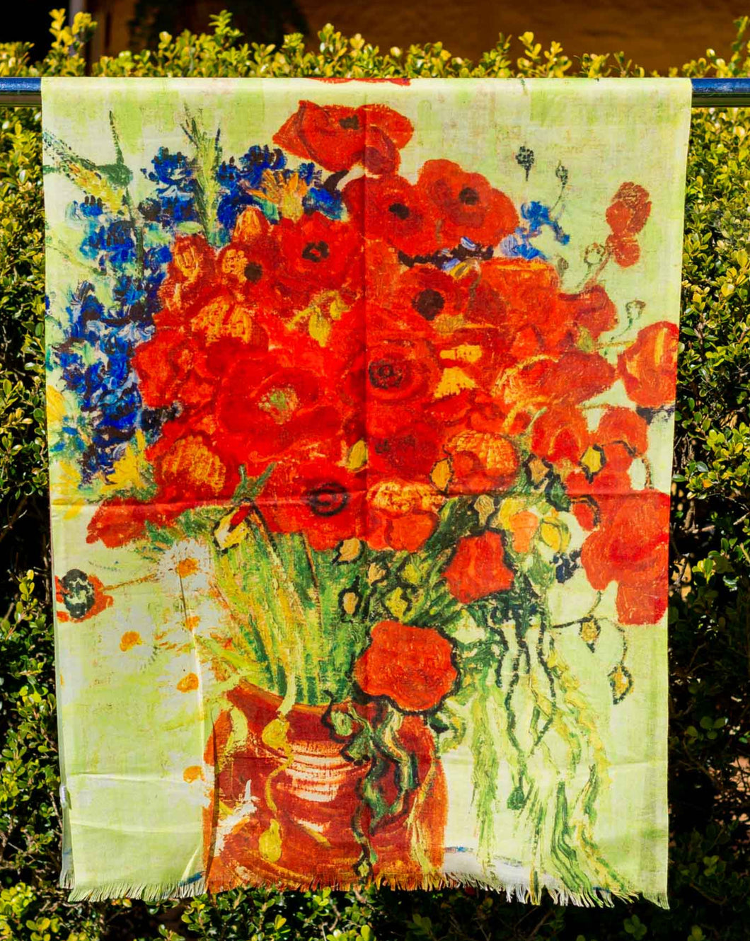 Cotton Impressionist Art Scarf - van Gogh : Vase with Red Poppies & Daisies