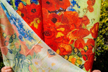 Load image into Gallery viewer, Cotton Impressionist Art Scarf - van Gogh : Vase with Red Poppies & Daisies
