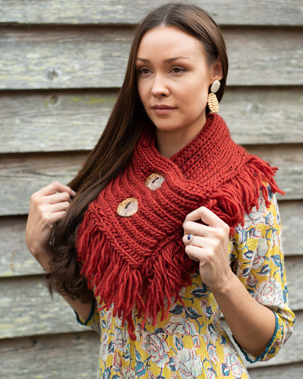 Chunky Knit Rusty Red Neck Shrug Scarf - Beths Emporium