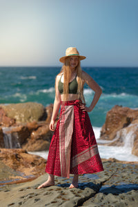 Sleek Sari Silk Wrap Skirt - Sunrise Glory - Avoca Collection